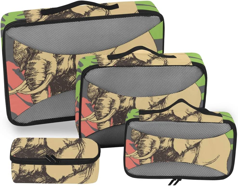 4 Set Packing Cubes Travel Luggage Packing Organizers Jungle Leaves And Elephant