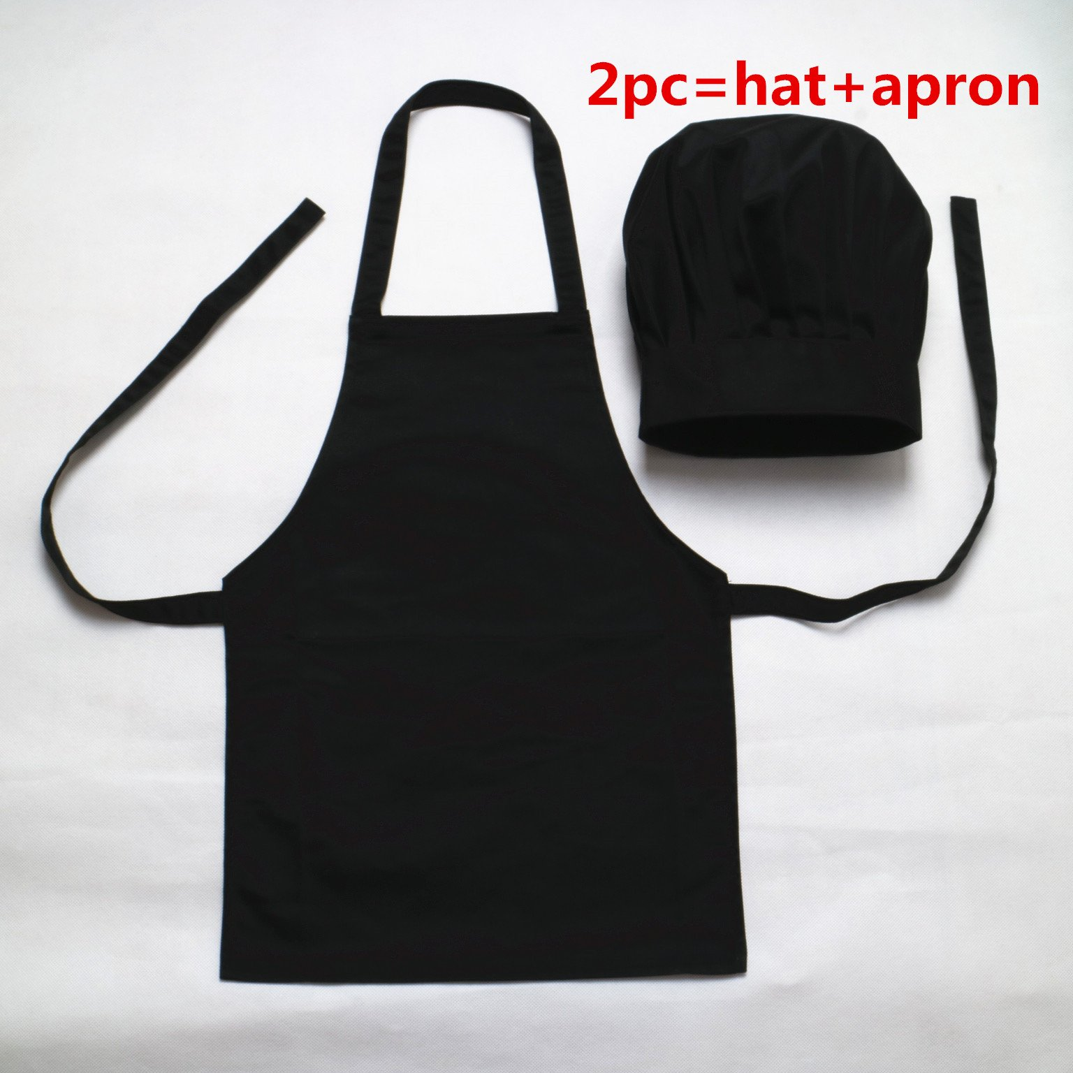 2 Pc-Black kids'Adjustable apron and hat set for cooking,baking, painting or decorating party (3-8Years)