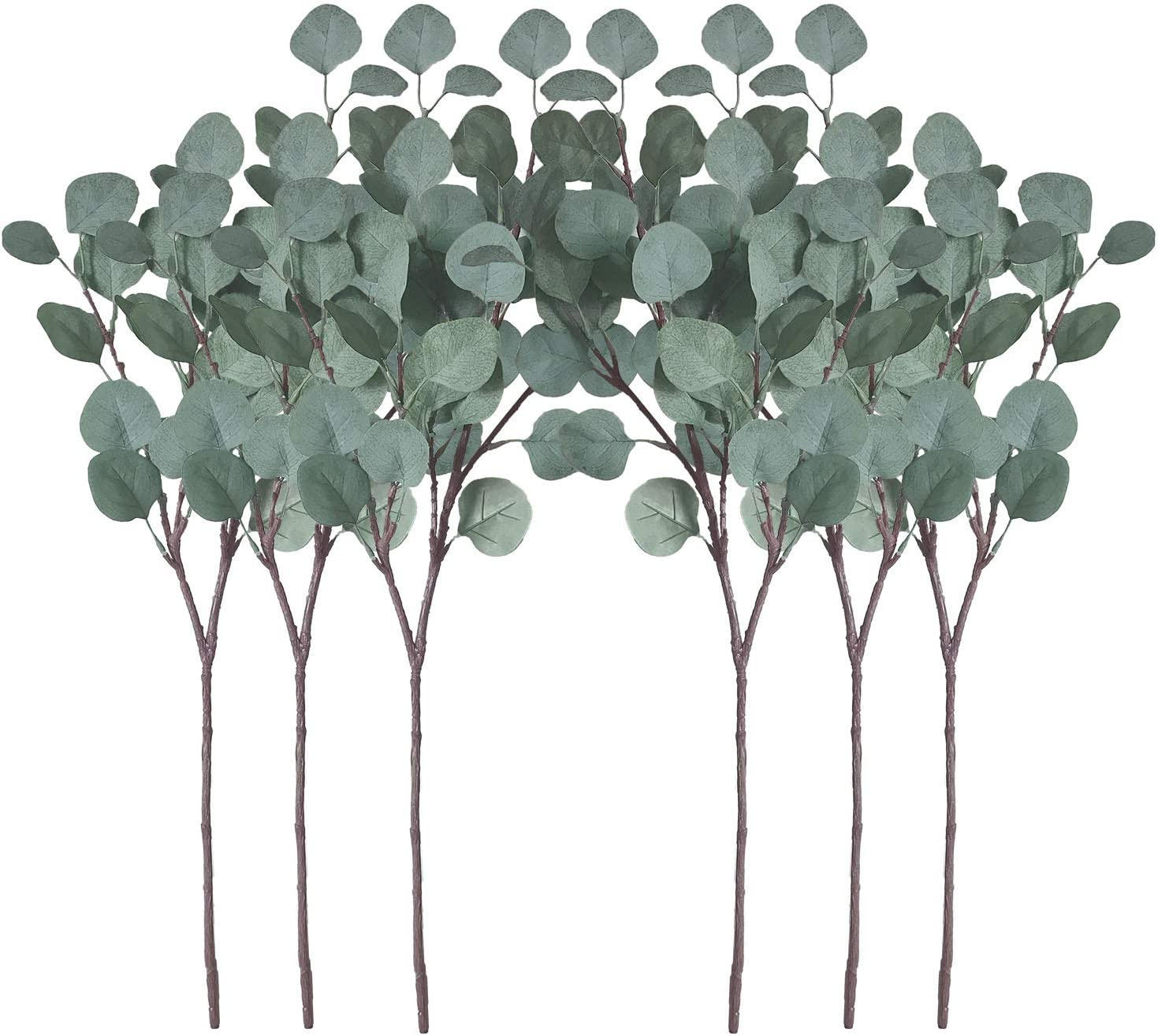 ZHIIHA Pack of 6 Artificial Silver Dollar Eucalyptus Leaves Artificial Greenery Faux Holiday Christmas Greens Flower Leaf Arrangement for Home Décor