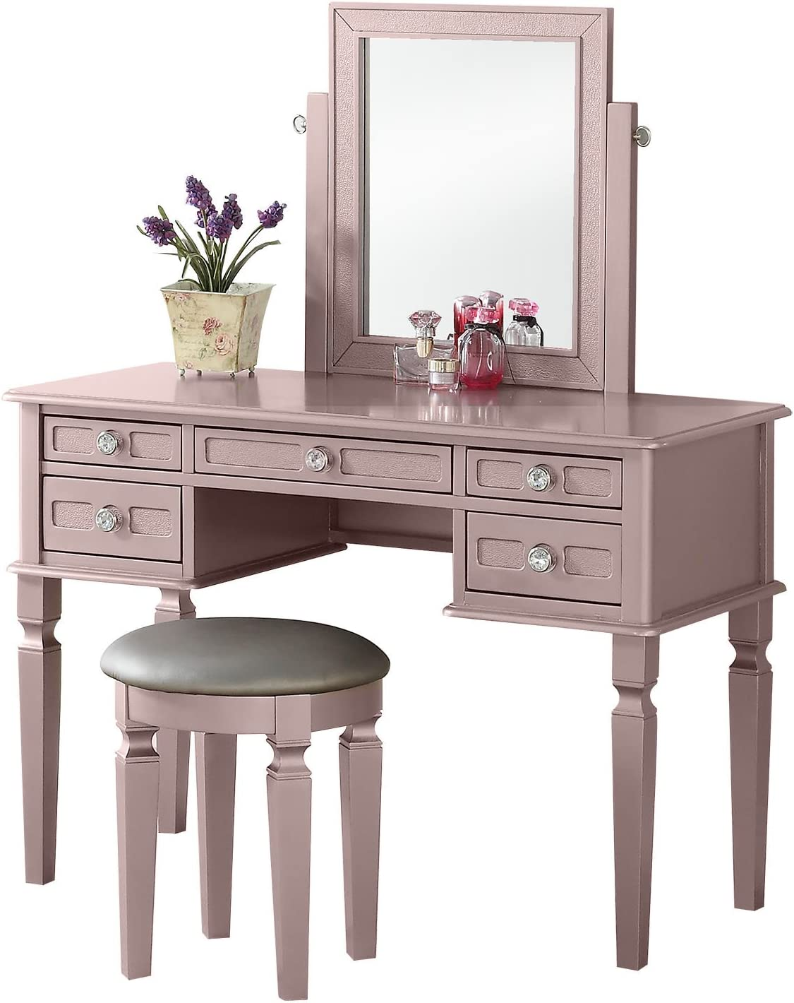 Bobkona Vanity Table With Stool Set, Rose Gold