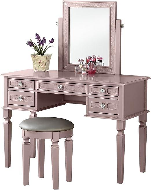 Amazon Com Bobkona Vanity Table With Stool Set Rose Gold Furniture Decor