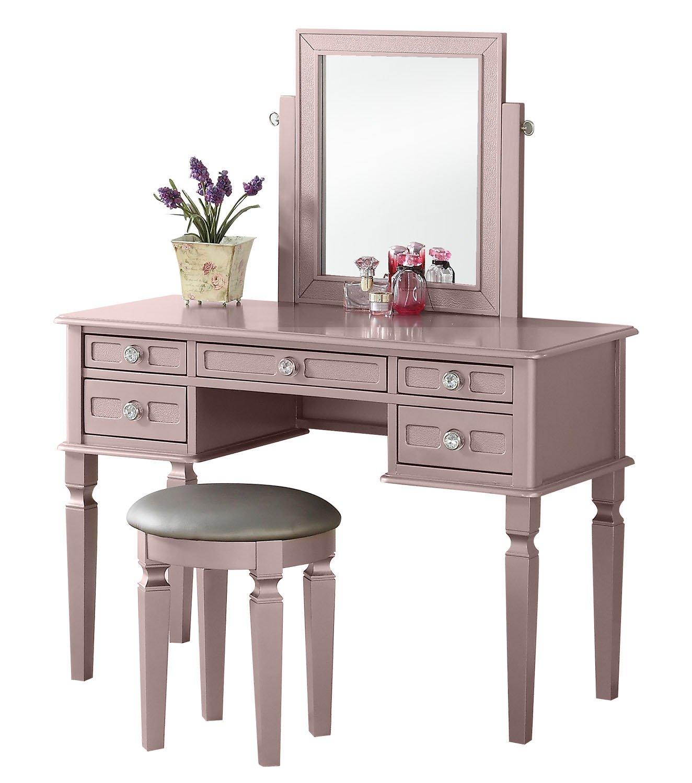 Astonishing Bobkona F4186 Vanity Table With Stool Set Rose Gold Spiritservingveterans Wood Chair Design Ideas Spiritservingveteransorg