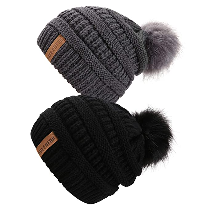 a7509aca92b Queenfur Knit Slouchy Beanie for Women Thick Baggy Hat Faux Fur Pompom  Winter Hat (Black