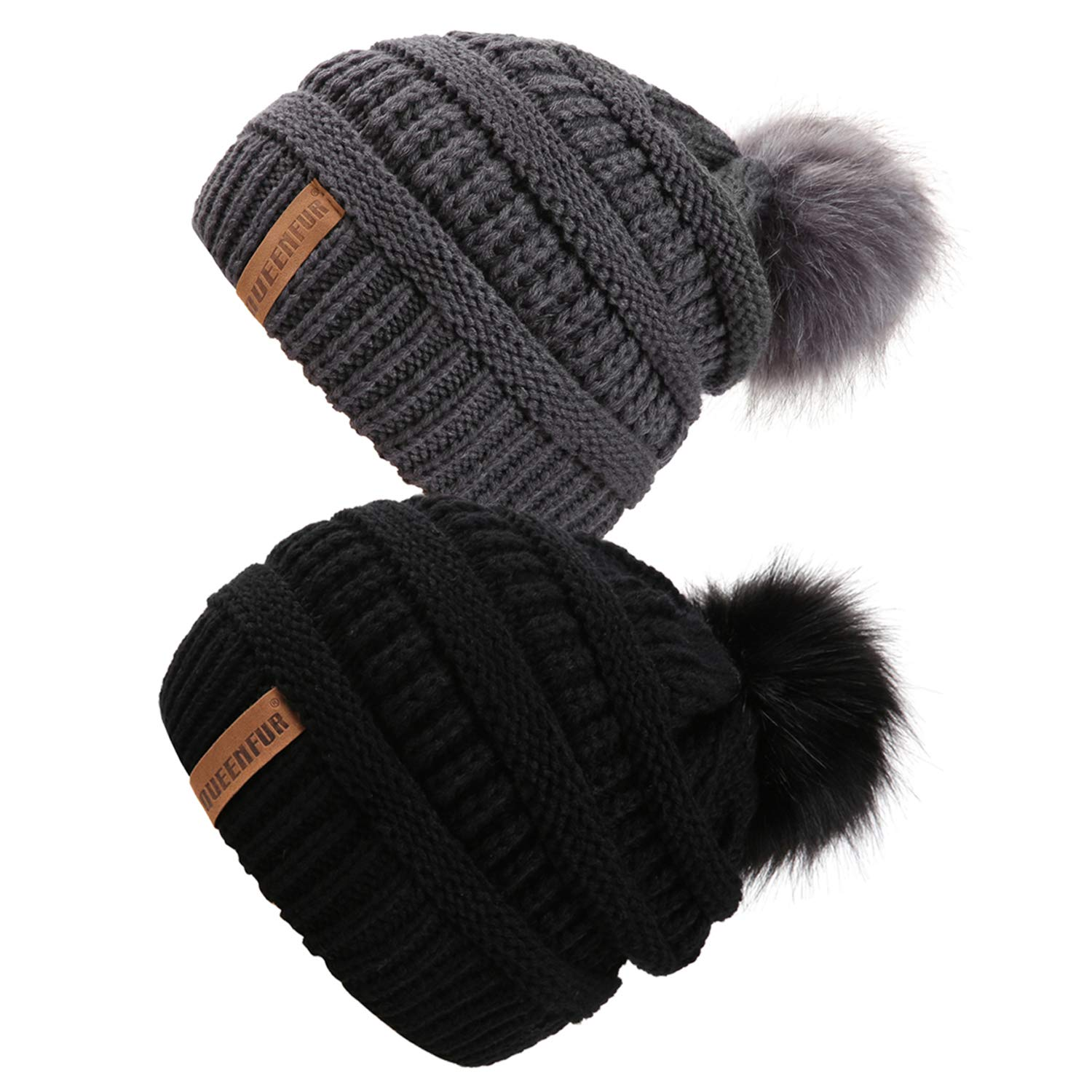 QUEENFUR Women Knit Slouchy Beanie Chunky Baggy Hat with Faux Fur Pompom Winter Soft Warm Ski Cap (2 Pcs Black/Dark Grey)