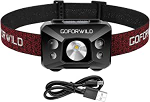 Redlight Spot Rechargeable Headlamp, 500 Lumens White Cree LED Head Lamp Flashlight with Red light and Motion Sensor Switch, Perfect for Running, Hiking, Lightweight, Waterproof, Adjustable Headband