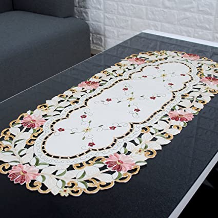 Yazi Embroidery Cutwork Floral Tablecloth Oval Tea Table Protector Cover  15x33 Inch Motheru0027s Day Gift