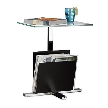 Relaxdays Beistelltisch mit Zeitungsständer, Metall, Glas Couchtisch ...