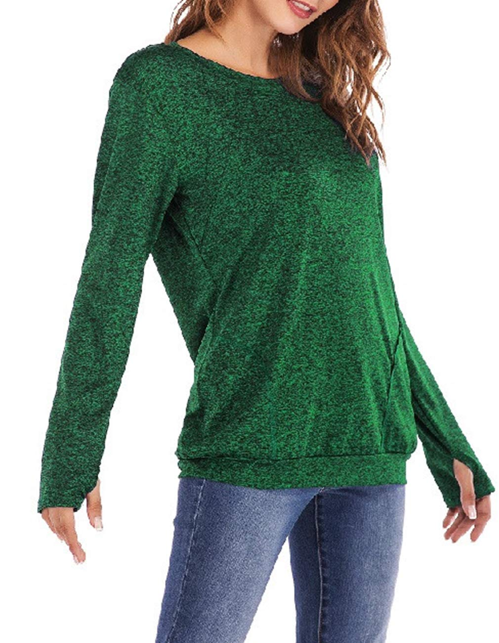 Defal Womens Long Sleeve Round Neck Quick-Dry Top T-Shirts Loose Gym Sports with Thumb Holes Pockets Fashion Tunic Blouse (Green,XXXL) by Defal (Image #2)
