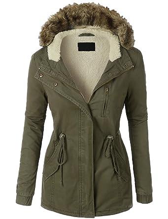 Amazon.com: DOUBLDO Womens Classic Solid Anorak Sherpa Faux Fur ...