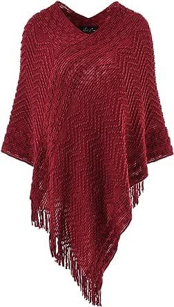Ferand - Pull Poncho de punto para mujer, diseño de rayas y flecos