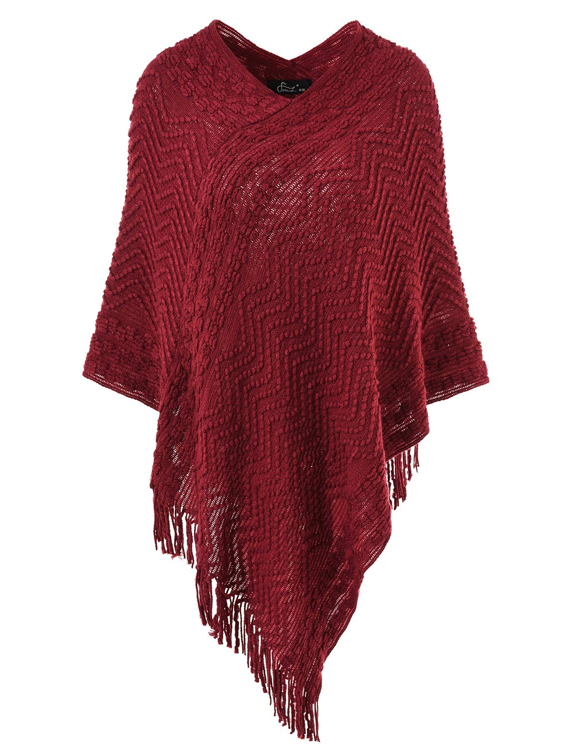 Ferand Women's Elegant Cozy Poncho Sweater with Chevron Stripes and Fringes, One Size, Burgundy