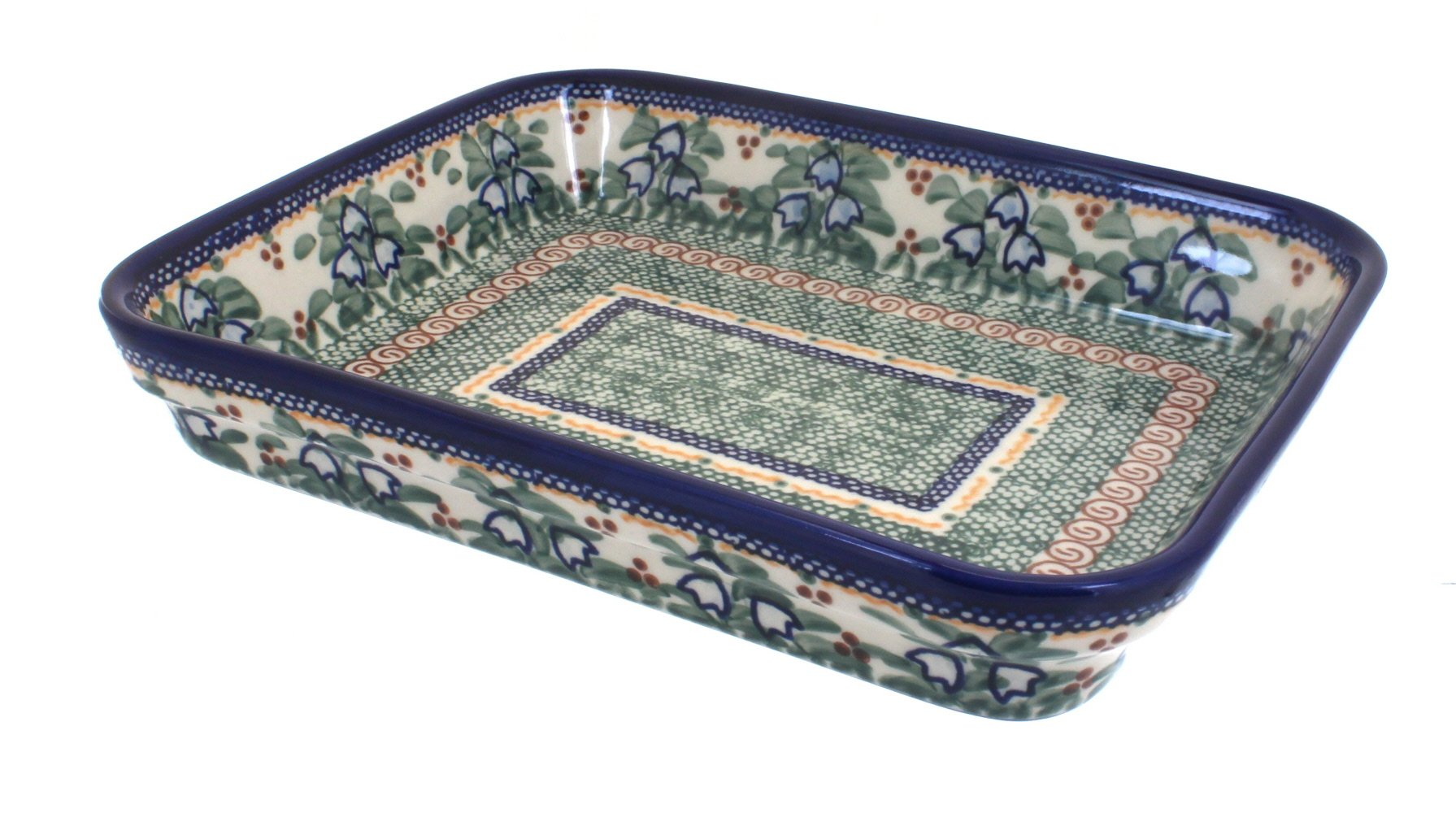 Polish Pottery Bluebell Medium Rectangular Baker