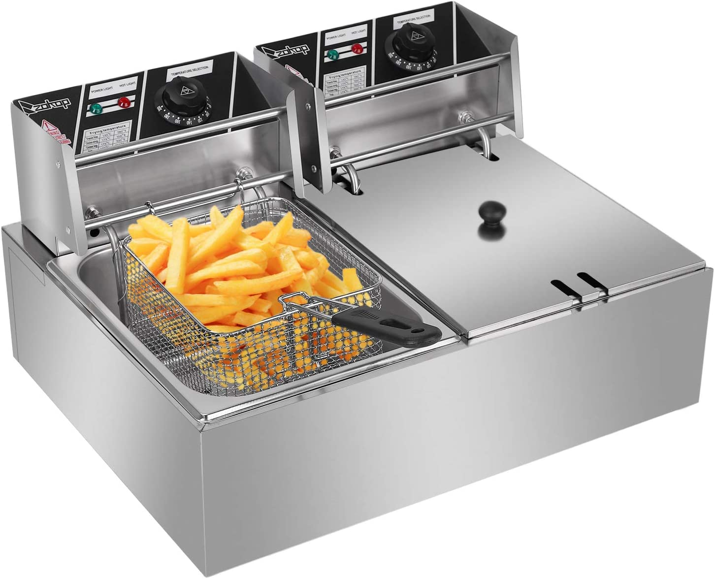 6L Deep Fat Fryer, Deep Fryer Stainless Steel Single Cylinder Electric Fryer is Durable for Both Home and Commercial use 220-240V UK Plug (2500W/6L) 5000w/12l