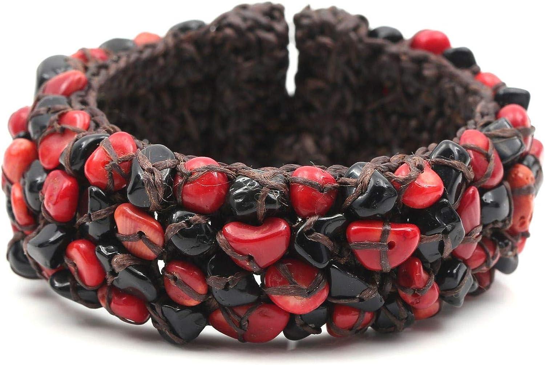 Idin Jewellery - Pulsera de cordón Encerado con Piedras de ónix Rojo y Negro Hecha a Mano