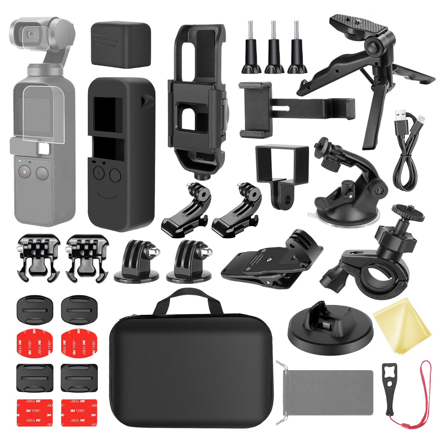 Neewer 33-in-1 Expansion Kit Compatible with DJI OSMO Pocket Action Camera Mounts, Accessory Bundle Kit with Carry Case/Phone Holder/Charging Base/Tripod/Car Suction Cup/Bicycle Bracket and More by Neewer
