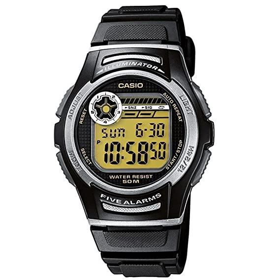 Casio Collection W-213-9AVES, Reloj con luz LED para Hombre, Negro y Amarillo: Amazon.es: Relojes