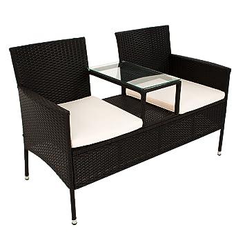 Banc de jardin en polyrotin Monaco avec table intégrée pour ...