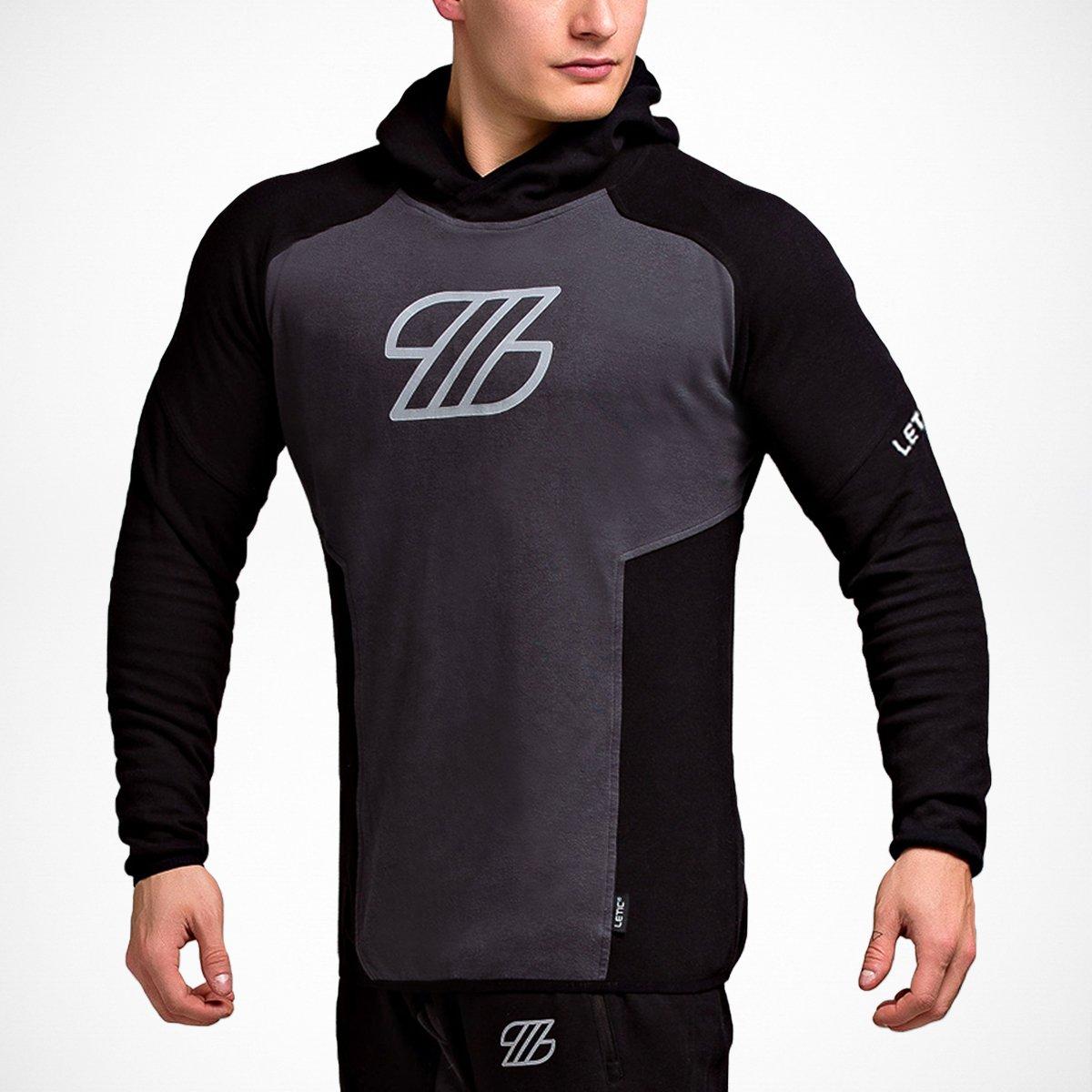 LETIC Gym Herren Fitness Body FIT High Performance Hoodie Sweatshirt mit Kapuze Mesh Schwarz-Dunkelgrau