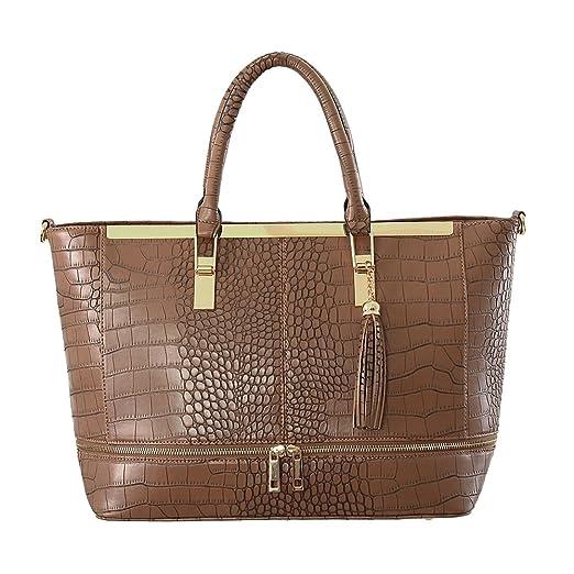 CRAZYCHIC - Grand sac cabas effet croco avec zip avant et détails dorés - Sac shopping femme - Grande taille - Marron Taupe