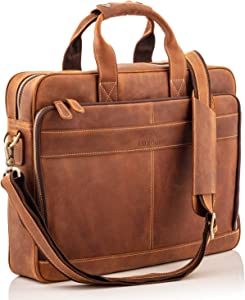Laptop Bag Messenger Bag for Men – Top Grain, First-Grade Genuine Leather Briefcases for Men w/Padded Laptop Case – Soft, Full Grain Leather Messenger Bag w/Precision Hand Stitching for Durability
