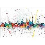 Berlin Skyline Poster - Michael Tompsett - Skyline in Wasserfarben ( 91,5cm 61cm)