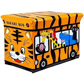Infantil Safari Caja Almacenaje Puf Otomano Asiento Taburete Juguete Libros Baúl