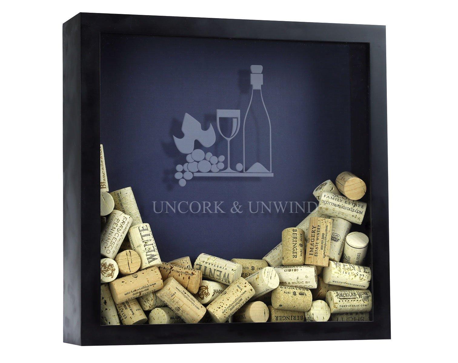 Wine Cork Shadow Box, Wine Cork Box, Wine Cork Storage, Uncork and Unwind by Unknown