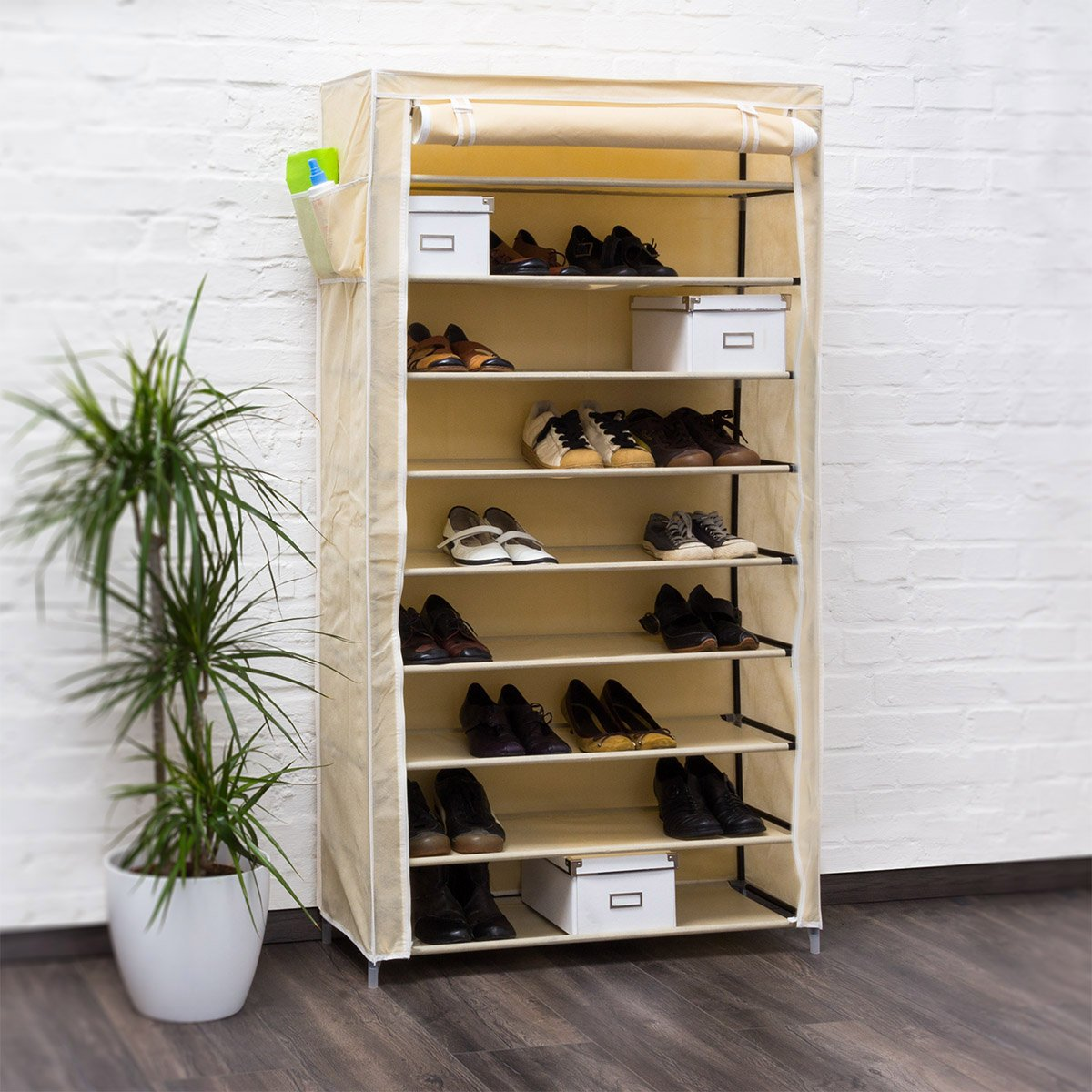 Relaxdays Meuble Chaussures Valentin Housse Tissu Tag Re Armoire