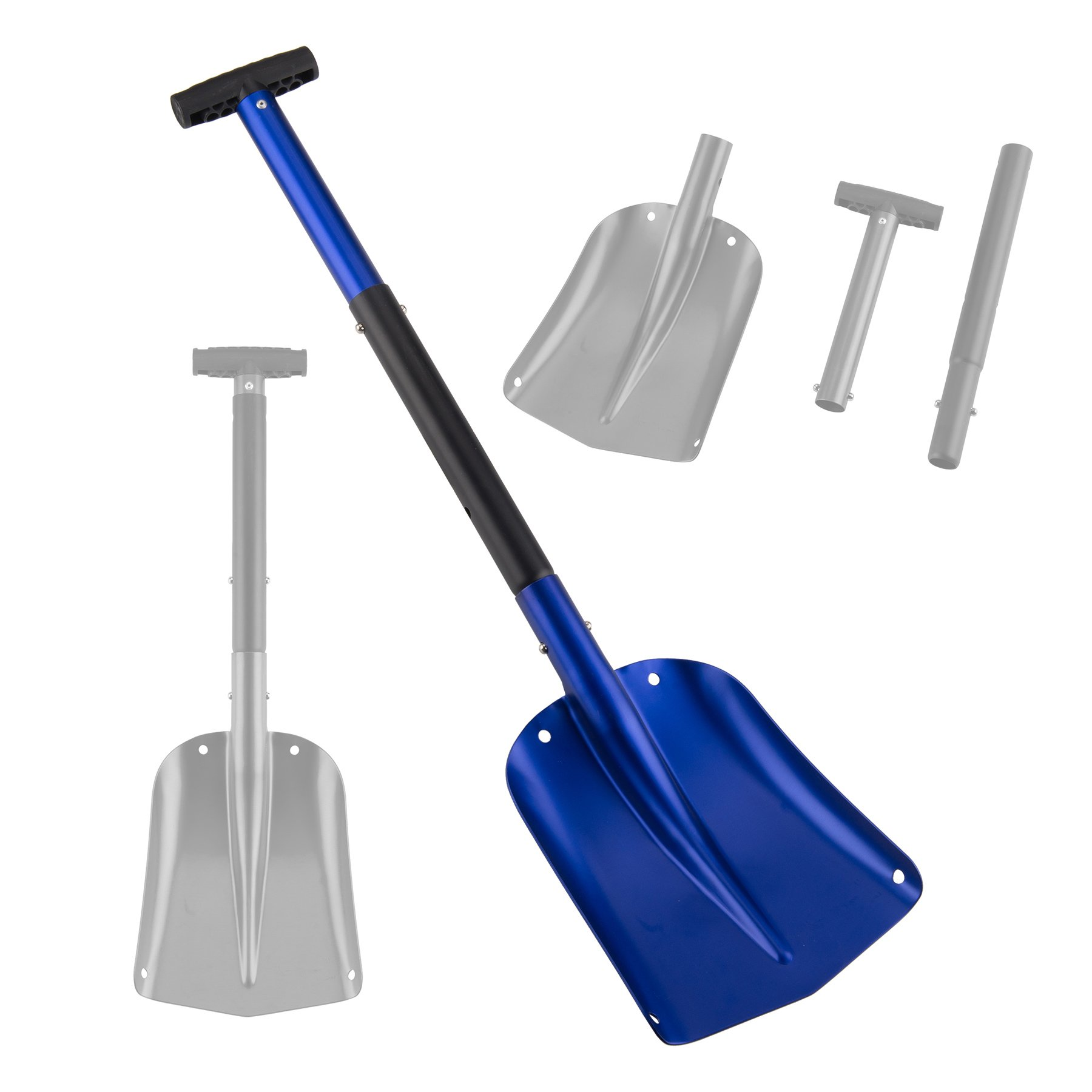Pinty 26'' - 32'' Aluminum Lightweight Utility Shovel Adjustable and Collapsible Winter Snow Shovels for Car Camping Garden (Blue) by Pinty