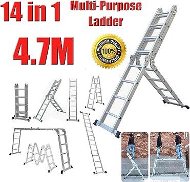 Escalera telescópica de aluminio extensible de 4,7 m, 14 en 1, escalera multiusos, compacta, resistente,