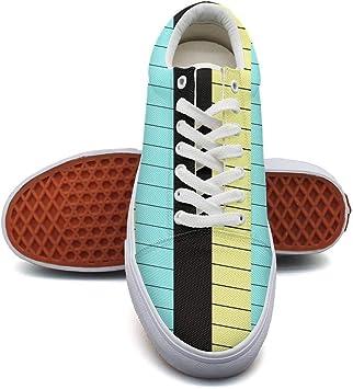 Toxeu Stripe Lace Up Sneakers Canvas Skate Shoes for Men Fashion