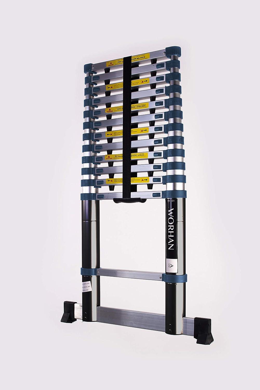 WORHAN/® Echelle 3.8m T/élescopique Aluminium Anodis/é Modulable Pliable Polyvalente Escabeau Solide 380cm 3.8m B-Line K3.8B