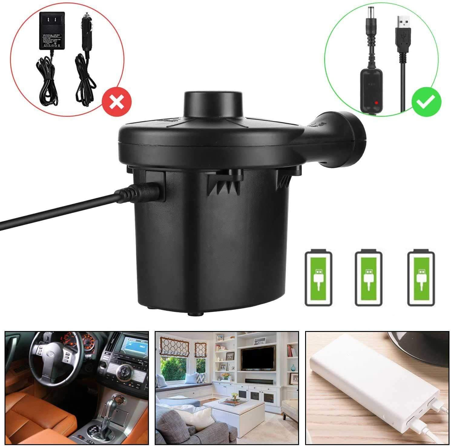 Electric USB Air Pump Inflator for Inflatable Camping Air Bed Mattresses Floats