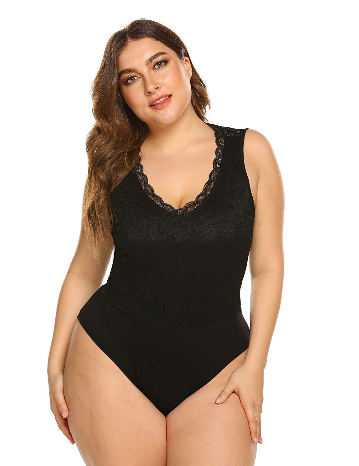 338b6650f29 IN'VOLAND Women Plus Size Lace Bodysuit Long Sleeve/Sleeveless Sexy Bodycon  Stretchy Party Clubwear Bodysuits Leotards Tops at Amazon Women's Clothing  store ...