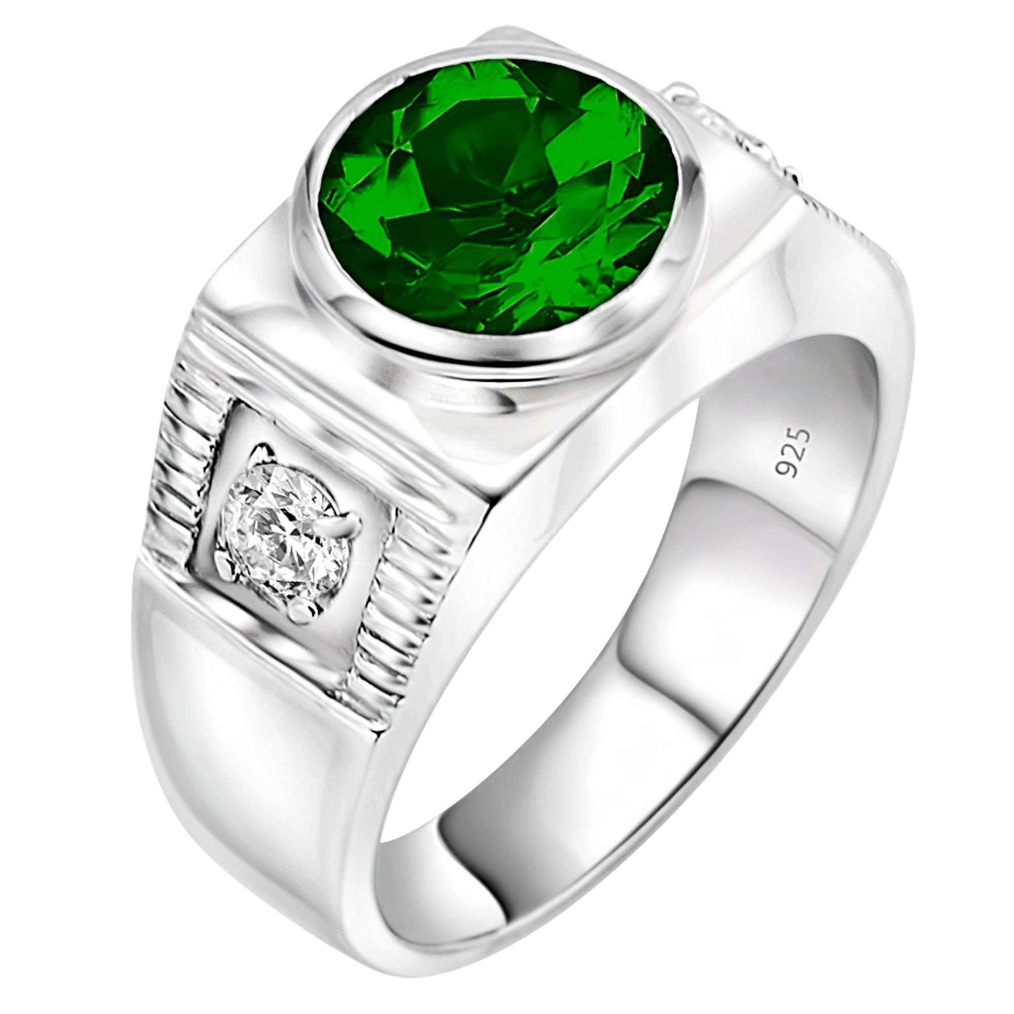 Men's Sterling Silver .925 Ring with Green Round Center CZ Stone and 2 White Cubic Zirconia (CZ) Stones