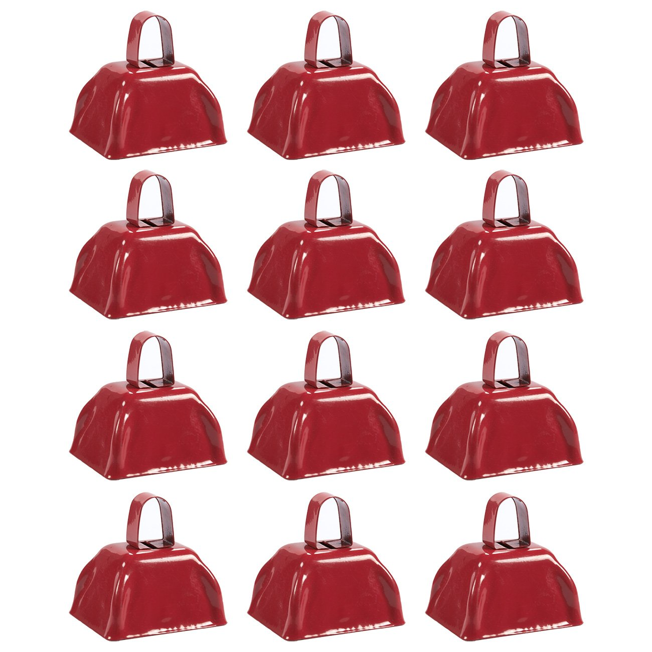 Blue Panda Cow Bell Set - 12-Count Loud Bells with Handles, Cowbells, Noisemaker Call Bells for Football Games, Weddings, Classroom Use, Red - 3 x 2.8 x 2.49 inches by Blue Panda