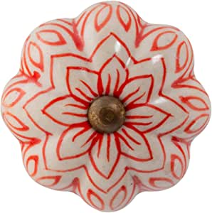 Nicola Spring Tirador para cajones y armarios Verde Oliva Pack de 24 Dise/ño con Flor Vintage Cer/ámica