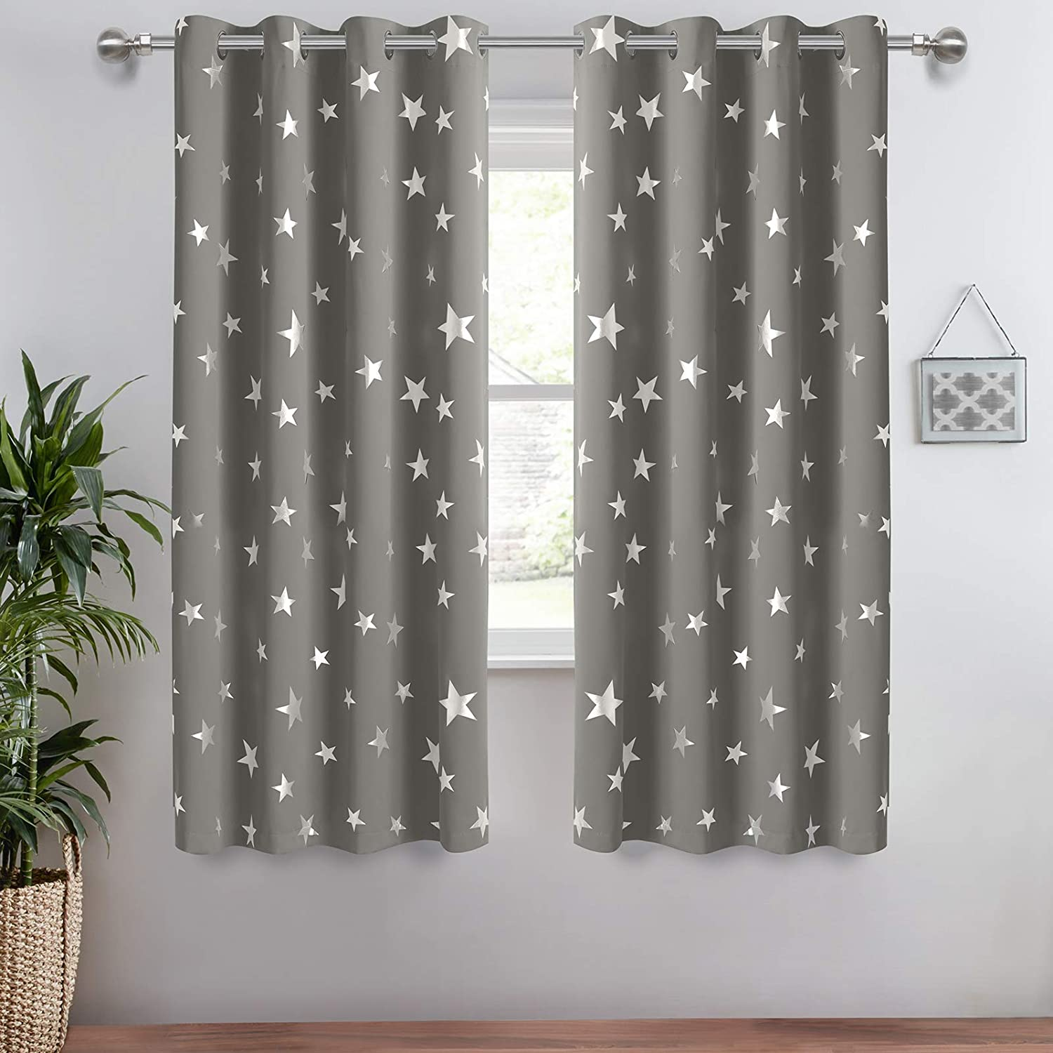 Anjee Eyelet Blackout Curtains Silver Stars Thermal Insulated Curtains 2 Panels 52 x 45 inch for Children