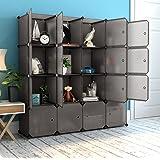 LANGRIA 16 Cube Organizer Stackable Plastic Cube Storage Shelves Design  Multifunctional Modular Closet Cabinet With Hanging