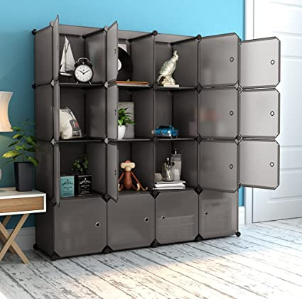 Amazon.com: LANGRIA 16 Cube Organizer Stackable Plastic Cube Storage Shelves  Design Multifunctional Modular Closet Cabinet With Hanging Rod For Clothes  ...