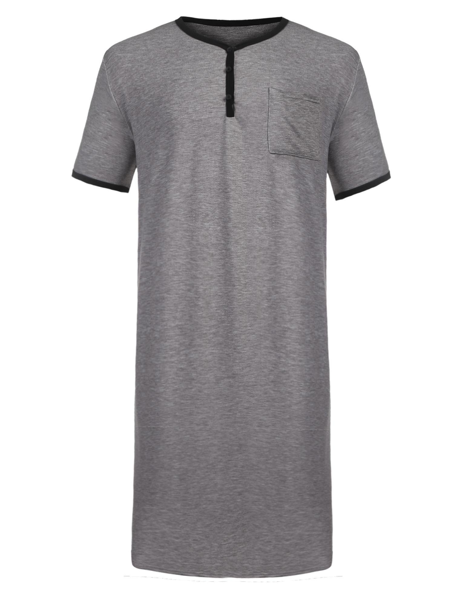 Langle Men's Nightgown Long Sleep Shirt Short Sleeve Big&Tall Nightshirt S-XXXL,Grey,XL