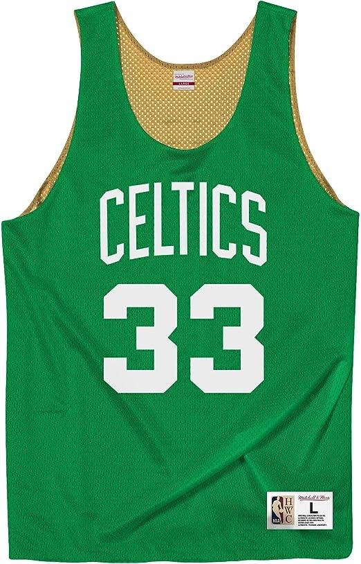 Mitchell & Ness Boston Celtics Larry Bird All Stars - Camiseta reversible de rejilla, color verde y dorado: Amazon.es: Ropa y accesorios