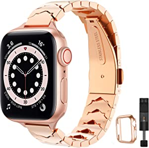 STIROLL Slim Stainless Steel Replacement Band Compatible for Apple Watch 38mm 40mm 42mm 44mm, Crown Shape Wristband Women for iWatch SE Series 6/5/4/3/2/1 (Rose Gold, 38mm 40mm)