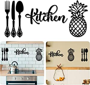 4eN Kitchen Modern Wall Decor for Dining Room, Kitchen or Cafe, Wooden Kitchen Sign with Double-Sided Tape, Pineapple, Knife, Fork and Spoon Wall Decor, Cutlery Wall Sign, MDF