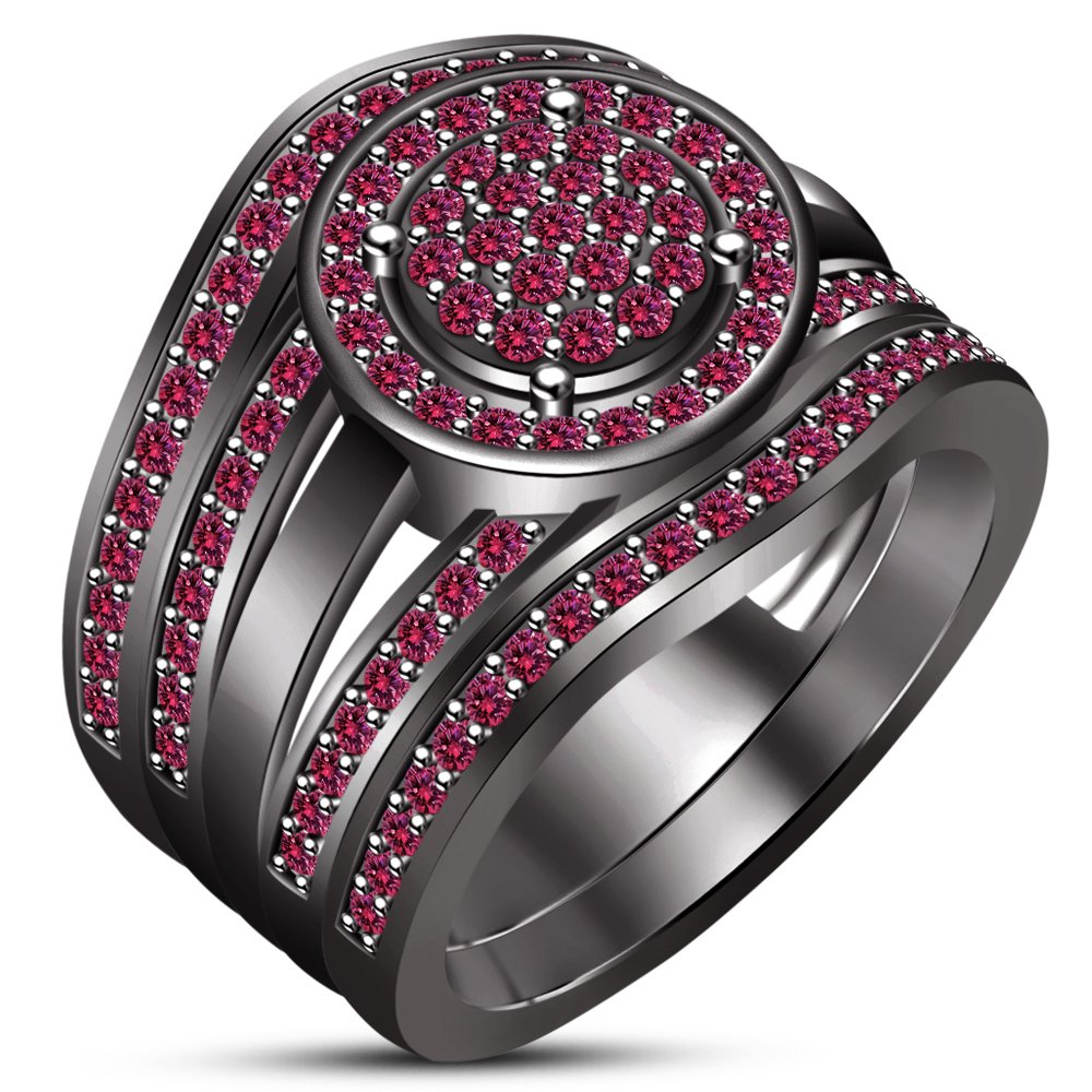 TVS-JEWELS Black Rhodium Plated Round Pink Sapphire Trio Wedding Bridal Ring Set For Women's (7.25)