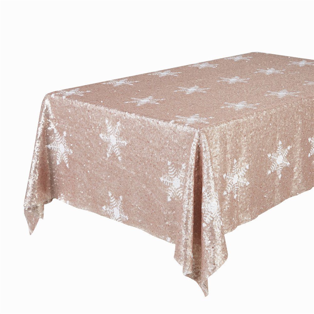 Luxurious Champagne Sequin Christmas Snowflake Tablecloth