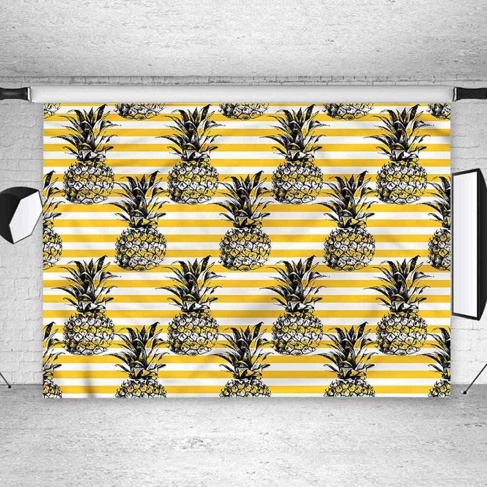 6x6FT Vinyl Wall Photography Backdrop,Mustard,Tropical Pines Stripes Background for Party Home Decor Outdoorsy Theme Shoot Props