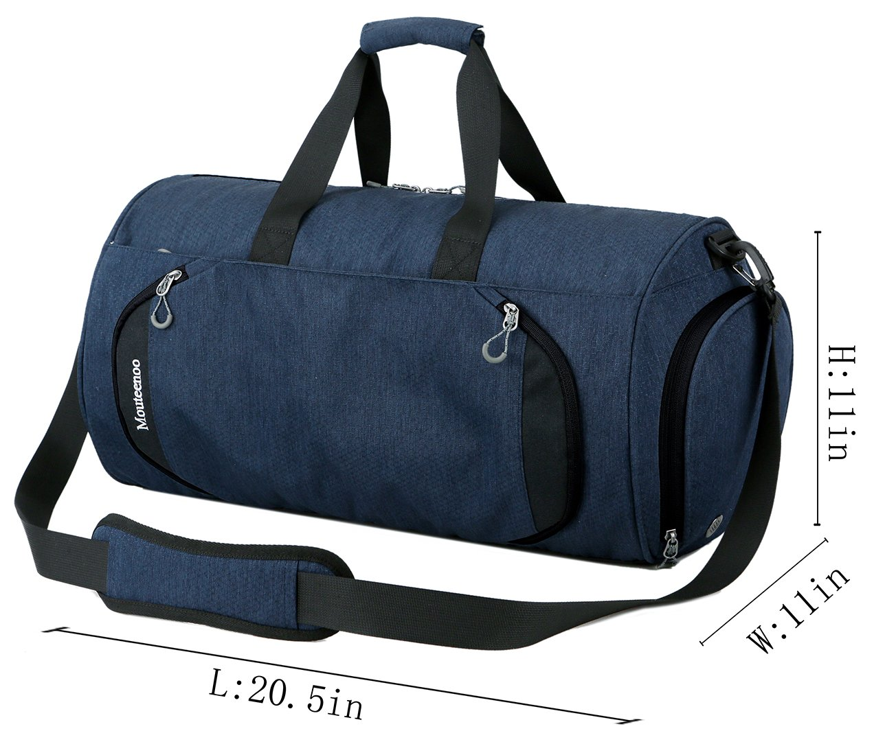 Gym Sports Small Duffel Bag for Men and Women with Shoes Compartment - Mouteenoo (Small, Blue/Black) by Mouteenoo (Image #3)