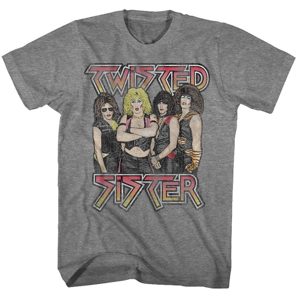 Twisted Sister Heavy Metal Band Group Shot Posing For Camera Adult T Shirt Tee