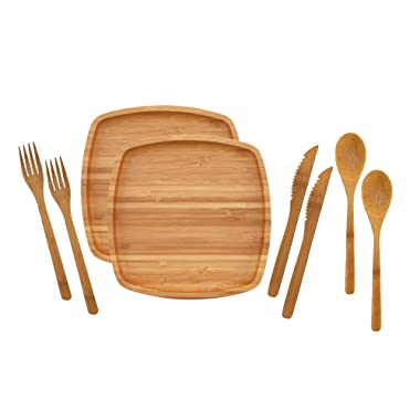 BambooMN Camping Mess Kit Lightweight Organic 8  x 8  Bamboo Plates, Forks, Knifes and Spoons for Camping, Hiking, or Backpacking - 2 Sets